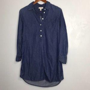 J. Crew dark wash chambray shirt dress sz 2
